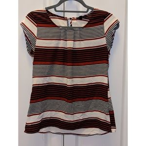 Blouse Striped Black Red Cream